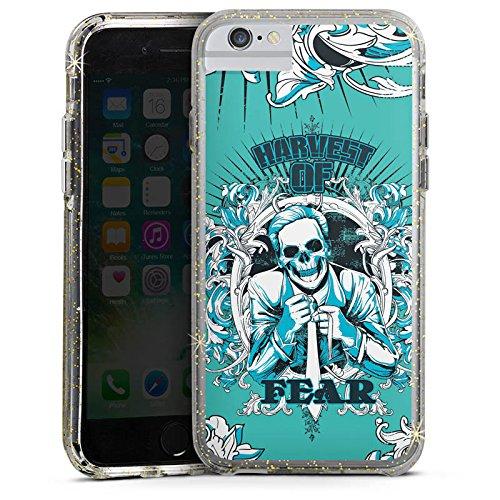 Apple iPhone 6s Bumper Hülle Bumper Case Glitzer Hülle Tot Sensenmann Fear Angst Bumper Case Glitzer gold