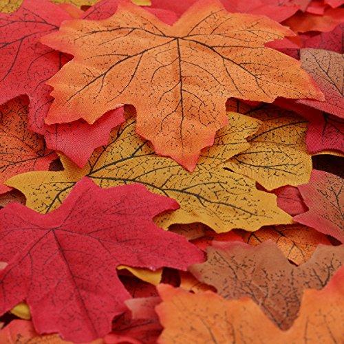 Luxbon Lot de 150 feuilles d'érable d'automne environ Artificielles Individuelles Multicolore Décoration Jardin Mariage Maison et Soirée DIY
