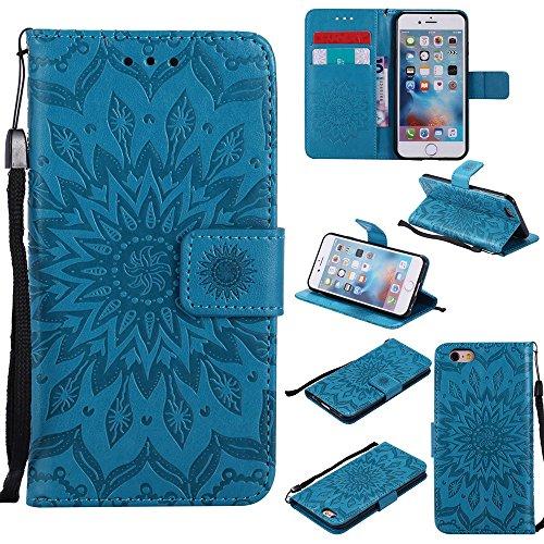 JIALUN-étui pour téléphone Pour Apple IPhone 6 6s Case, avec lanière, slot pour carte, support, boucle magnétique Sun Flower Flat Open Phone Shell ( Color : Gray ) Blue