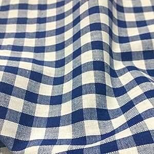 Tissu vichy velours côtelé, Polyester et coton, motif Carreaux 6,35 mm Bleu marine et blanc, 114,3cm de large–Vendu au mètre
