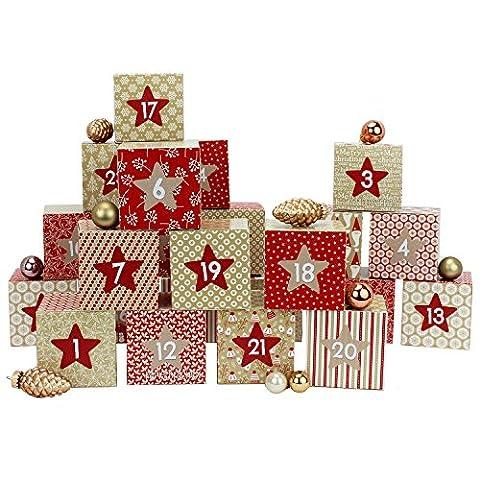 DIY Adventskalender Kisten Set - Motiv Rot-beige - 24 bunte Schachteln zum Aufstellen und zum Befüllen - 24 Boxen - von Papierdrachen