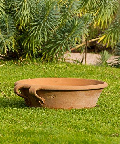 Kreta-Keramik, frostfest Terracotta Schale mit Henkel. 60 cm zum bepflanzen oder als Miniteich, mediterrane Deko für den Garten/Terrasse, sehr hochwertig