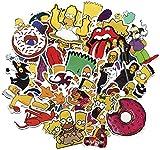 Zhenzhiao The Simpsons Autocollant, Décalque pour Bagage Ordinateur Portable Skateboard Moto Bicyclette Voiture Imperméable Stickers 50 Pièces/Paquet - 50pcs