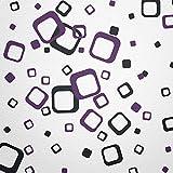 WANDfee® Wandtattoo 60 Vierecke FARBWUNSCH Farbe schwarz lila zweifarbig bunte moderne Wanddeko selbstklebende retro Cubes Quadrate Wandaufkleber Wandsticker Fliesenaufkleber Dekoration Deko Aufkleber