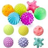 REYOK Palle Giocattolo per Bambini 6 Mesi, 12 Pezzi Palle Morbide Sensoriali Giochi Neonato,Palline Sensoriali per Bambini,Gi