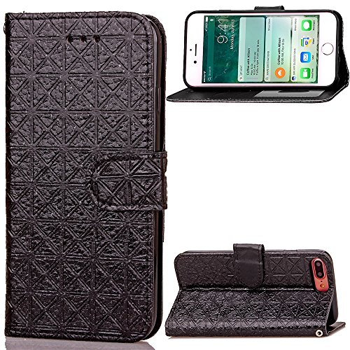 iPhone Case Cover Couvercle souple TPU souple PU Cuir Carré Lattiece Grille Motif Wallet Stand Case Photo Fenêtre Case Pour IPhone 7 Plus ( Color : Gray , Size : IPhone 7 Plus ) Black