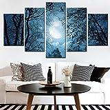 mmwin Toile Décor À La Maison Photos 5 Pièces Forêt De Lune Peinture Imprimé Ombre des Arbres Paysage Affiche Modulaire Mur Art