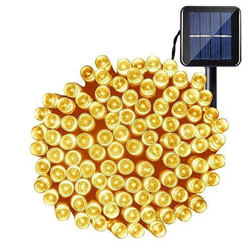 OxyLED luces de cadena de hadas solares, luces impermeables interiores/exteriores de 200 LED, luces solares decorativas accionadas para jardín, patio, hogar, bodas, fiestas, Navidad, Blanco cálido