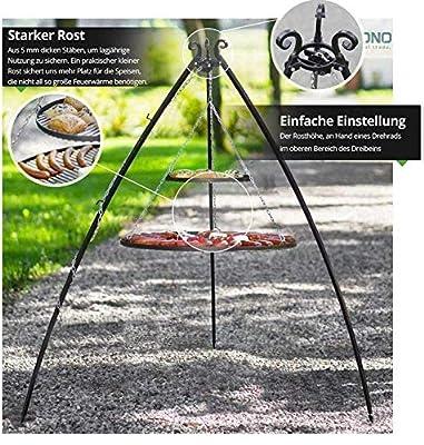 Blackorange Schwenkgrill Modell: Duo, 200 cm hoch, konkave Beine mit Doppelroste aus Stahl Ø 80 cm und Ø 40 cm