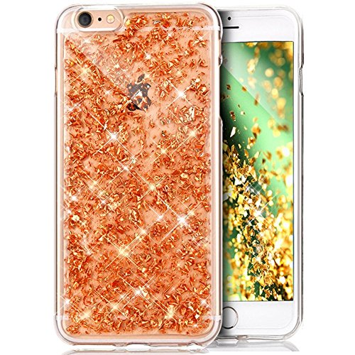 iPhone 7 Custodia, iPhone 8 Cover, iPhone 8 / 7 Custodia Silicone, JAWSEU Moda Stile Lusso Cristallo di Bling Brillante Sparkle Glitter Custodia per iPhone 7 Back Cover Case Ultra Sottile Flessibile G Oro Champagne