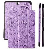 Samsung Galaxy Tab S2 9.7 Case | Bouquet lila | Funda iCues Ancho | Disponible en otros colores y otras versiones de cuero sintético | Bolsa protectora con caja de regalo