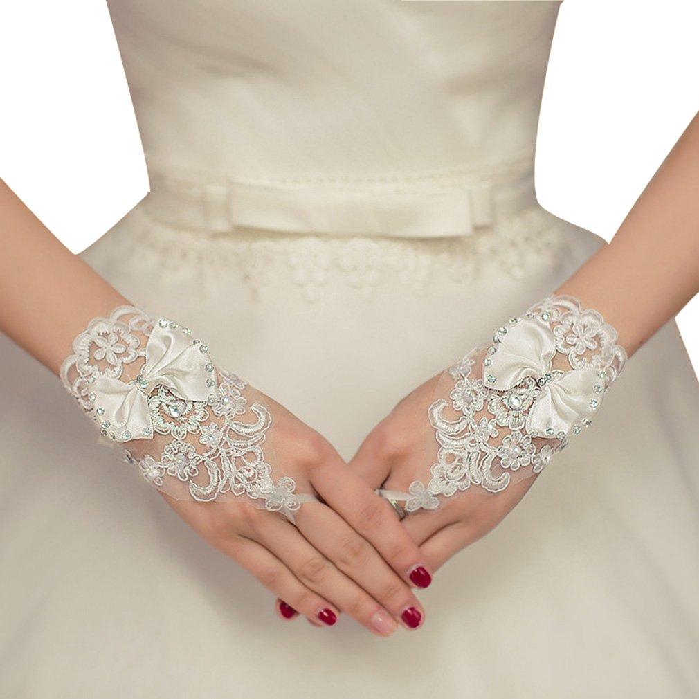 Frau Wei/ß Hochzeit Braut Abschlussball Partei Spitze Blumen Fingerlose Handschuhe