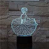 FISSEN 3D danseuse de ballet LED Lampe d'illusion Optique