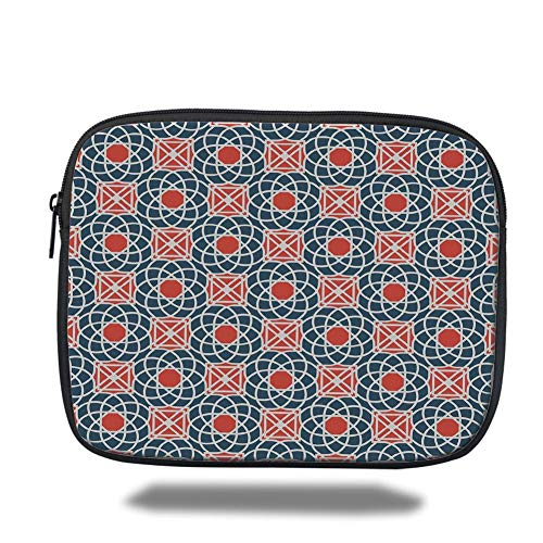 Tablet Bag for Ipad air 2/3/4/mini 9.7 inch,Geometric,Floral Intricate Lines and Squares Abstract Image Middle Eastern Decorative,Cadet Blue Vermilion White -