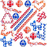 30 Piezas de Mini Serpiente de 24 Bloques, Cubos de Juguete de Serpiente, Mini Cubos de Serpiente, Cubos de Velocidad Mágicos para Niños, Favores de Fiesta Materiales de Fiesta, Colores al Azar