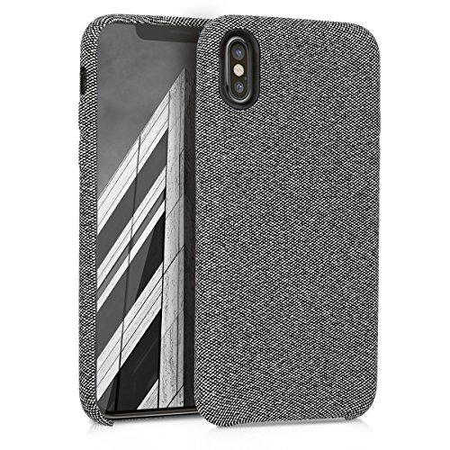 kwmobile Hülle für Apple iPhone X - Case Handy Schutzhülle Stoff - Backcover Cover Canvas Design Grau