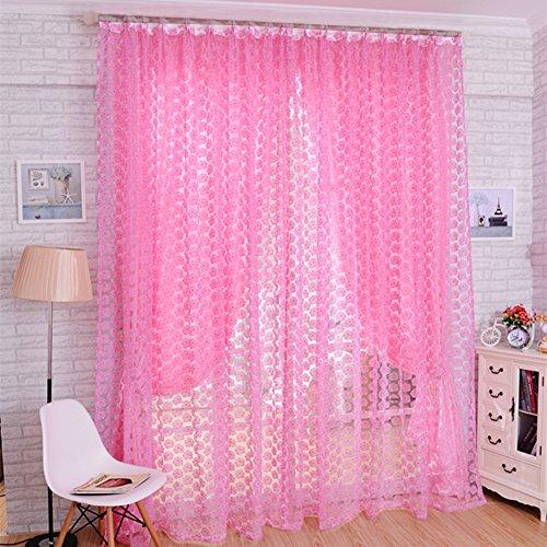 Zhuoshilang tenda mantovana con drappeggio in voile, per porta o finestra, per camera da letto, salotto, cameretta dei bambini, veranda, vetrina pink