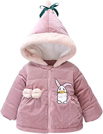Toddlers Parka Zipper Jacket Windproof Coat Lonshell Long Sleeve Warm Puffer Fleece Outwear for 1-3 Years Old Baby Boys Girls Winter Outfits