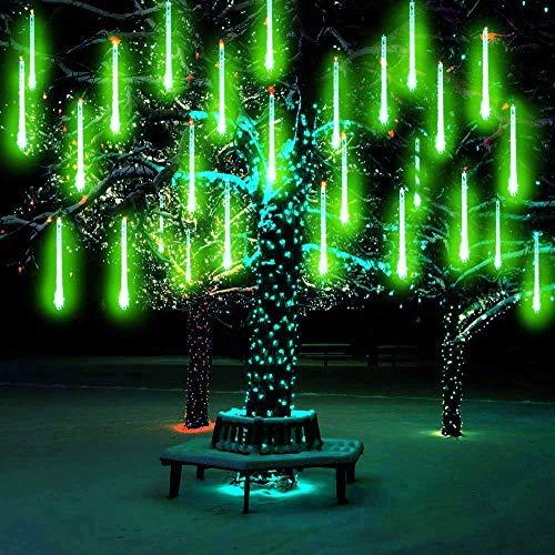 LEDs Meteorschauer Regen Lichter, SUAVER Wasserdichte Regentropfen Solar Licht Garten Schnur Lichter mit 10Tube 360LED,dekorative Lichter für Hochzeits Weihnachtsbaum (Grün)