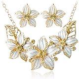 Liquidazione offerte, Fittingran Set di Gioielli in Cristallo Placcato Oro con Smalto di Moda