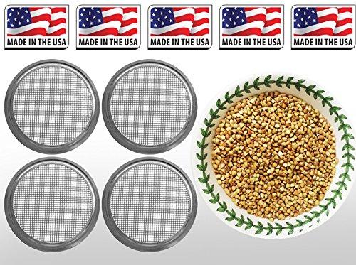 PLAT FIRM KEIM SEEDS: 1x Micro Grün Deckel + 10G 360 S: USDA Bio-Buchweizen-Faser + Sprießen Seed & Micro Grün Deckel Weckglas 1g-1 lb -