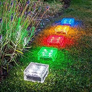 5er Set Solar Glas Pflastersteine groß weiß warmweiß blau rot grün Lights4fun