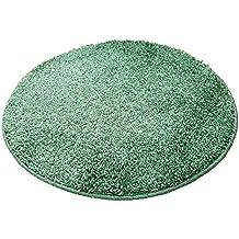 Alfombra de baño redonda (, 65cm de diámetro, 15mm flor, antideslizante, Alfombrilla de baño, cama Alfombrilla, verde, 65 cm