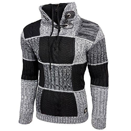 Rusty Neal Herren Grobstrick Strickpullover Pullover Sweatshirt Jacke RN-13284 Schwarz