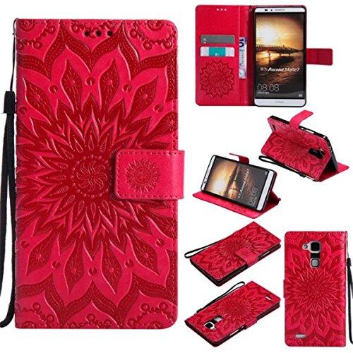 Gift_Source Huawei Mate 7 Hülle, Mate 7 Hülle, [Rot] PU Leder Brieftasche Schutzhülle Lederhülle Tasche Hülle mit Kartenfächer und Standfunktion Flip Wallet case Handyhülle für Huawei Ascend Mate 7 (Ascend Mate 7 Case Wallet)