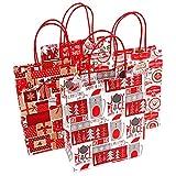 Momangel Série de Noël en papier Kraft Shopping Vêtements Sac de Cadeau de Noël Candy Emballage Sac fourre-tout, Random Style, L