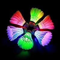 HOOMAGIC 6 Stück LED Badminton Bälle Federball Set Kinder Stabil und Langlebig Gänsefeder Badminton Federbälle für Nacht…