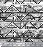 Soimoi Weiß Poly Georgette Stoff Dreieck Art geometrisch
