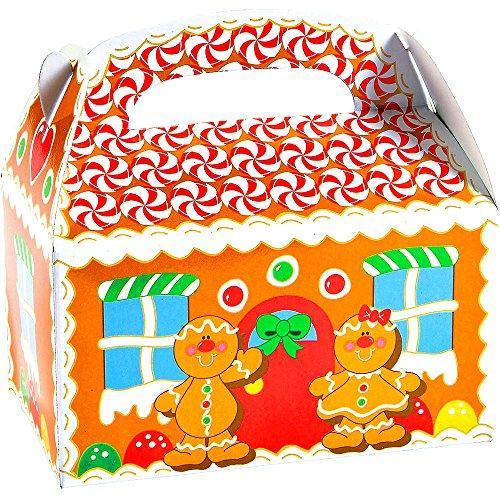 German Trendseller® - 8 x Pfefferkuchenhaus mit Griff zum Befüllen ┃ Weihnachtgeschenke ┃ Weihnachtsboxen ┃ Lebkuchenmänner ┃ Adventskalender