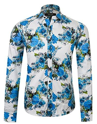 APTRO Herren Fashion Baumwolle Mehrfarbig Luxuriös Blumen Langarm Shirt APT004 (Jahre Männer 60er Für Mode)