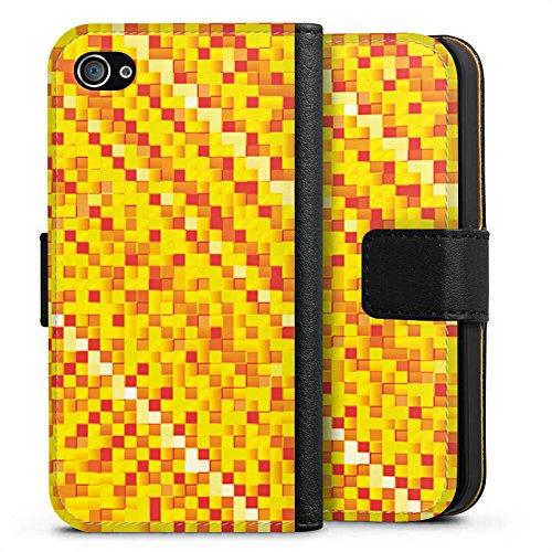 Apple iPhone X Silikon Hülle Case Schutzhülle Muster Pixel Rauten Sideflip Tasche schwarz
