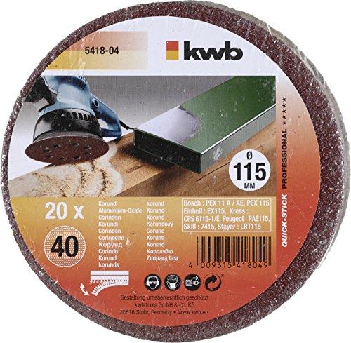 KWB Quick-Stick Schleifscheiben, Holz und Metall, selbsthaftend, Durchmesser 115 mm, gelocht, 5418-04