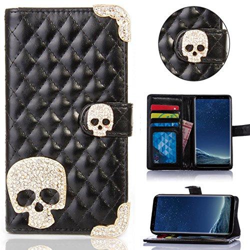 Book Style Design Handy Tasche Karo Metallic mit Visitenkartenfunktion Flip Cover Schutz Hülle Schale Klapp Etui Case Modern Bag für Samsung Galaxy Note Edge SM-N915F Schwarz