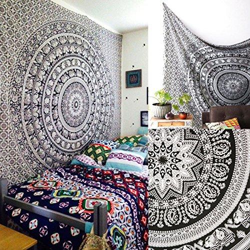 Jeteven Tapisserie indischen Elephant Mandala Wandteppich Wandbehang Tapestry Bohemian Druck Wand Home Hängen Deko Dekorationen 210X145cm weiß und schwarz