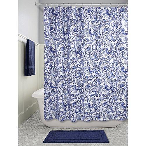 InterDesign Mosaic Vine Fabric Shower Curtain, Polyester Shower Curtain, Blue/Navy