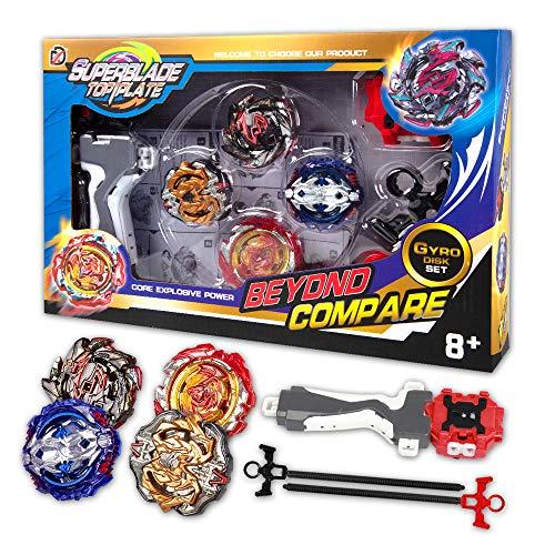 infinitoo Kampfkreisel Burst   4 Stück Speed Gyro Metal Kampfkreisel Set   4D Fusion Modell Burst Evolution Kombination Series mit 2 Launcher Spielzeug für Kinder