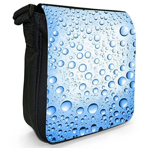 Acqua colorata gocce piccolo nero Tela Borsa a tracolla, taglia S Blue Water Droplets