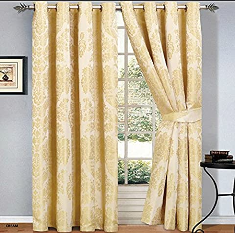 Luxury Jacquard Curtains Pair Fully Lined Ready Made Ring Top With Free Tie Backs And P&P (90 X 72, Cream)