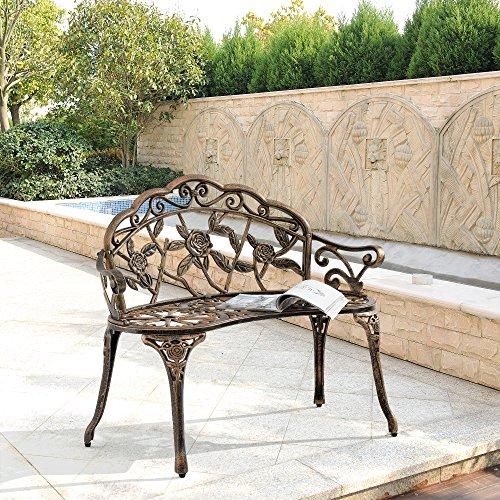[casa.pro] Gartenbank Bronze Gusseisen
