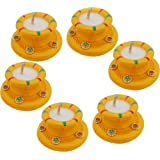 Sky Trends Handmade Matki Candles Diwali Gift Set, Best Gift Diwali Home Decorative Candle White 6-Diya Set