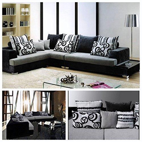 Bagno italia divano soggiorno angolare 340x210 cm bianco e nero divani sfoderabile cuscini stile moderno i