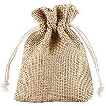 Grenhaven - SET 12x Saco de Joyas, bolsitas de yute, bolsa de tela, bolsas sacos de yute, Bolsas de Regalo, Bolsa De La Joyeria, 13x10cm, Lino natural, beige