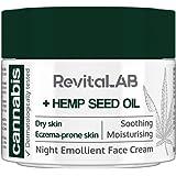 RevitaLAB - Crema facial emoliente de noche con extracto de cánnabis y aceite de semilla de cáñamo ecológico para una hidrata