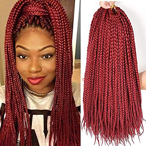 Qqhair 6 packs/lot trecce uncinetto extensions per capelli 3x sintetico trecce capelli uncinetto trecce capelli tessitura 24 strands/pack (6pc 18inch), red