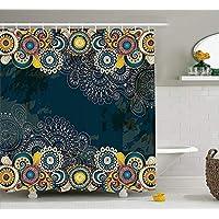 werert Psychedelic Decor Shower Curtain Set, Floral Bizarre Vibrating Design Vintage Flowers Leaves Paisley Pop