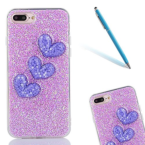 "iPhone 7Plus Schutzhülle, iPhone 7Plus Softcase, CLTPY Luxus Bling Sparkly Kristall TPU Handytasche mit Fließen Herzmuster für 5.5"" Apple iPhone 7Plus (Nicht iPhone 7) + 1 x Stift - Rosa 1 Lila 1"